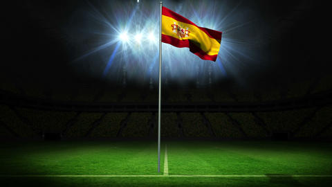 Spain national flag waving on flagpole Animation