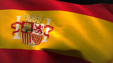 Digitally generated spain flag waving Animation