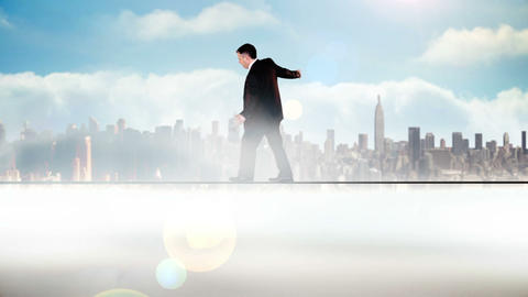 Businessman walking across a tightrope Animation
