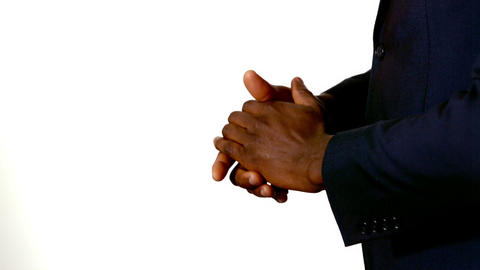 Businessman clapping hands on white background Footage