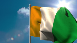 Ivory coast national flag waving on flagpole Animation