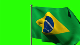 Brazil national flag waving on flagpole Animation