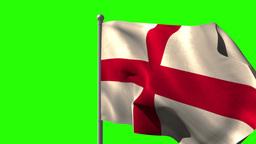 England national flag waving on flagpole Animation