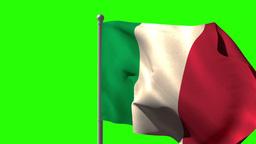 Italy national flag waving on flagpole Animation
