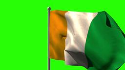 Ivory coast national flag waving on flagpole Animation