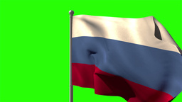 Russia national flag waving on flagpole Animation