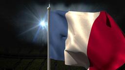 France national flag waving on flagpole Animation