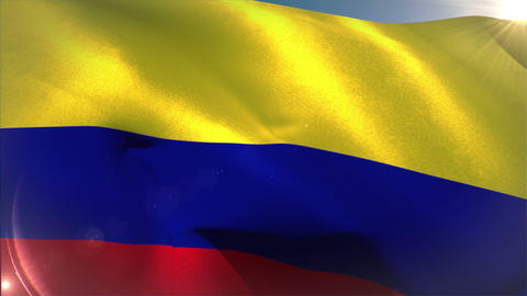 Large colombia national flag waving Animation