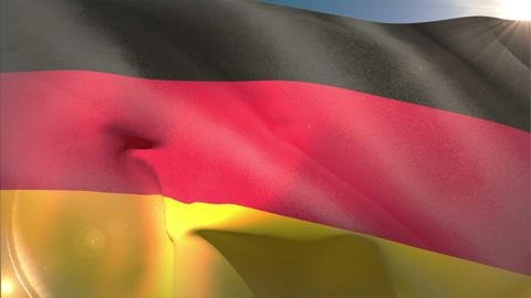 Large german national flag waving Animation
