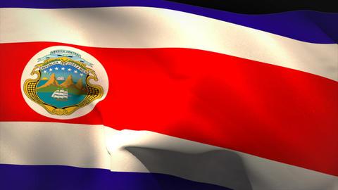 Large costa rica national flag waving Animation