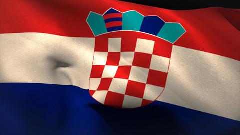 Large croatia national flag waving Animation