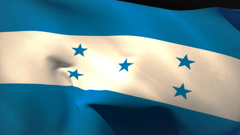 Large honduras national flag waving Animation