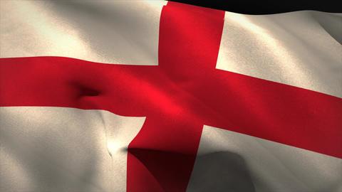 Large england national flag waving Animation