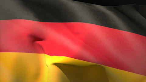 Large german national flag waving Animation