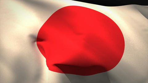 Large japan national flag waving Animation