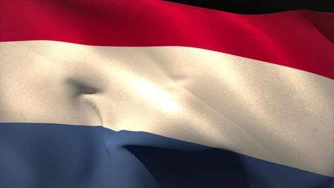 Large netherlands national flag waving Animation