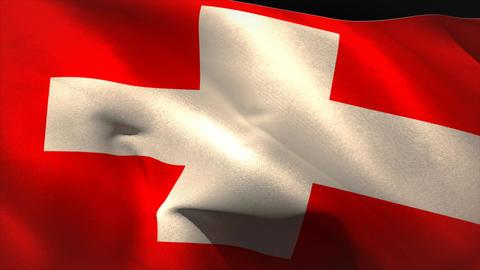 Large swiss national flag waving Animation