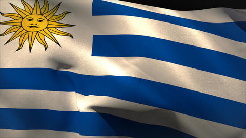 Large uruguay national flag waving Animation