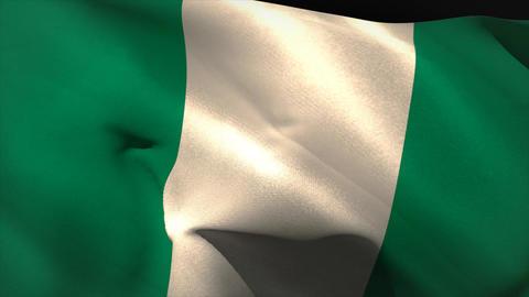 Large nigeria national flag waving Animation