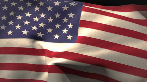 Large usa national flag waving Animation