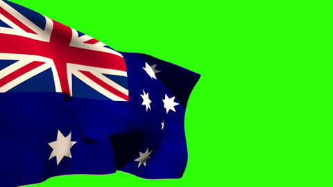Large australia national flag blowing Animation