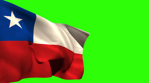 Large chile national flag blowing Animation