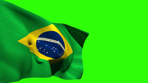 Large brazil national flag blowing Animation