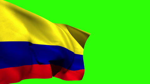 Large colombia national flag blowing Animation