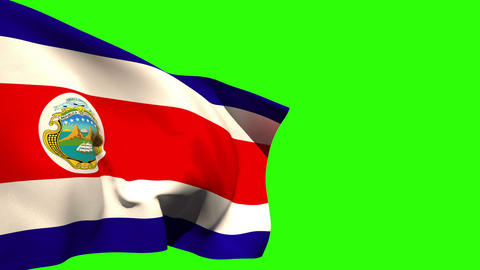 Large costa rica national flag blowing Animation