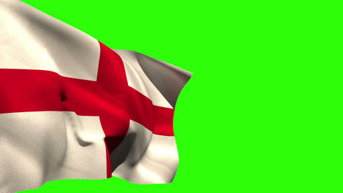 Large england national flag blowing Animation