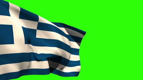 Large greece national flag blowing Animation