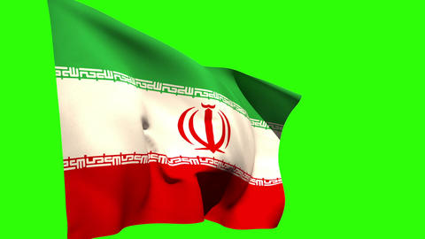 Large iran national flag blowing Animation