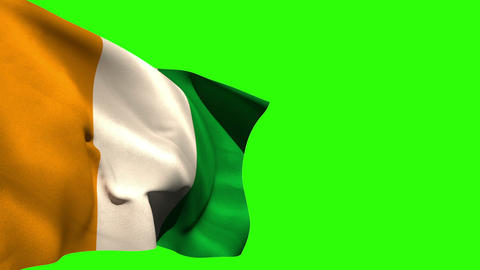 Large ivory coast national flag blowing Animation