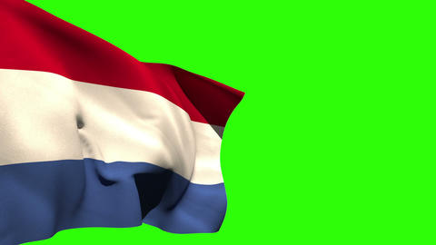 Large netherlands national flag blowing Animation