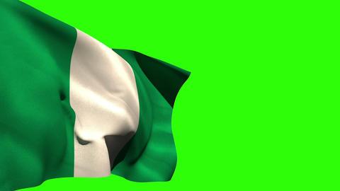 Large nigeria national flag blowing Animation