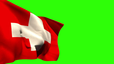 Large swiss national flag blowing Animation