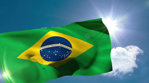 Brazil national flag blowing in the breeze Animation