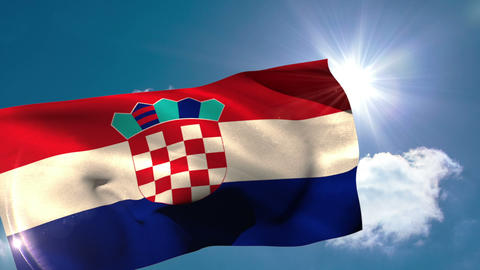 Croatia national flag blowing in the breeze Animation