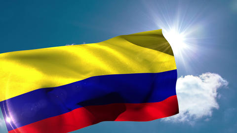 Colombia national flag blowing in the breeze Animation