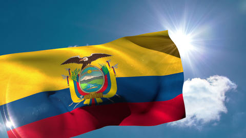 Ecuador national flag blowing in the breeze Animation