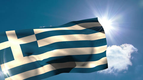 Greek national flag blowing in the breeze Animation
