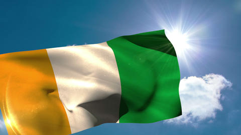 Ivory coast national flag blowing in the breeze Animation