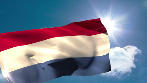 Dutch national flag blowing in the breeze Animation