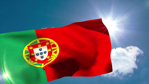 Portugese national flag blowing in the breeze Animation