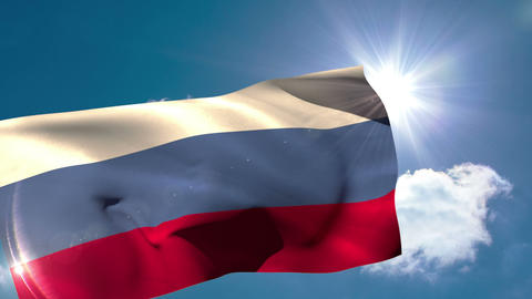 Russia national flag blowing in the breeze Animation