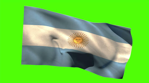 Argentina national flag blowing in the breeze Animation