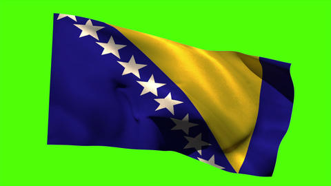 Bosnia national flag blowing in the breeze Animation