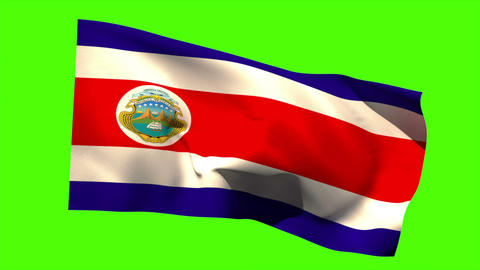 Costa rica national flag blowing in the breeze Animation