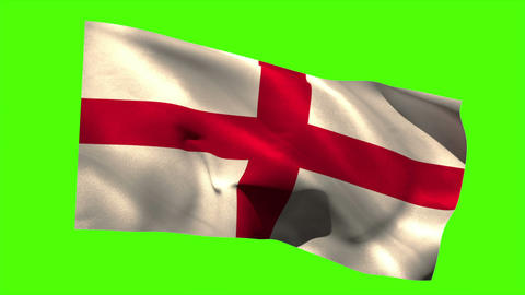 England national flag blowing in the breeze Animation