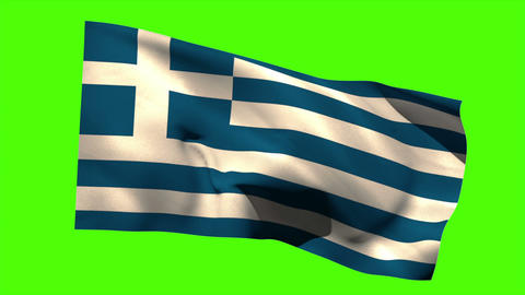 Greece national flag blowing in the breeze Animation